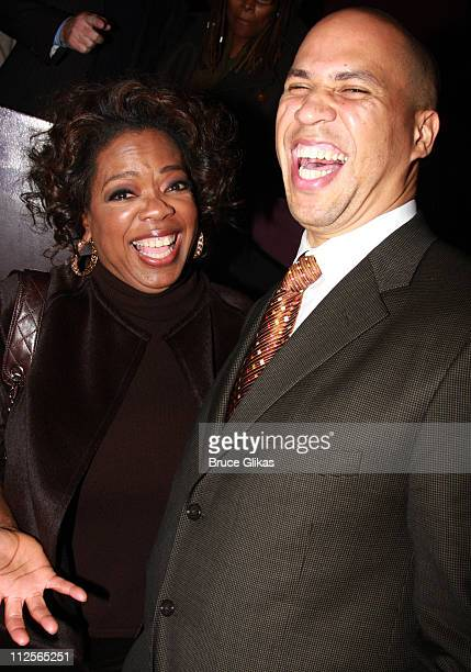 COVERAGE* Producer Oprah Winfrey and Newark Mayor Cory Booker pose at the celebration for new Broadway cast members of The Color Purple Chaka Khan...