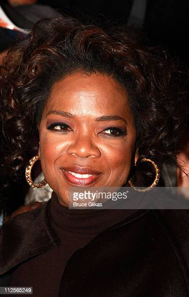 Producer Oprah Winfrey poses at the celebration for new Broadway cast members of The Color Purple Chaka Khan BeBe Winans and LaKisha Jones at The...