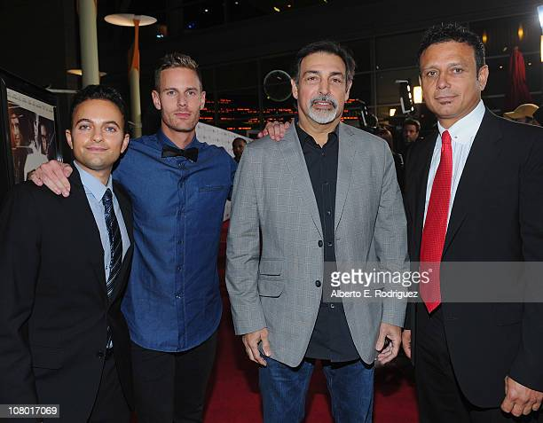 Producer Oren Segal director/writer Christopher B Landon producer Vince Morella and New Films Cinema's CEO Nesim Hasson arrive to the premiere of New...