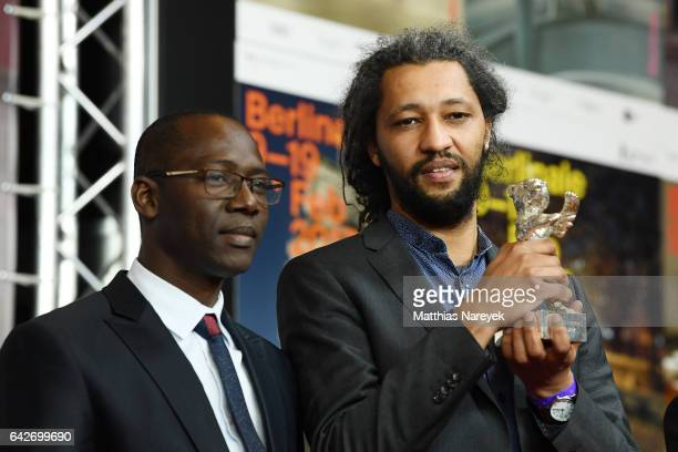 Producer Oumar Sall and film director Alain Gomis of the movie Felicite which won the Silver Bear Grand Jury Prize attend the award winners press...