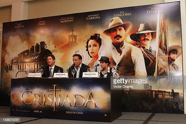 Producer Pablo Jose Barroso actors Andy Garcia and Mauricio Kuri attend a photocall and press conference to promote the new film For Greater Glory at...