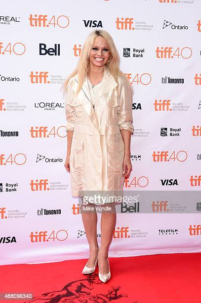 Producer Pamela Anderson attends the This Changes Everything photo call during the 2015 Toronto International Film Festival at Ryerson Theatre on...