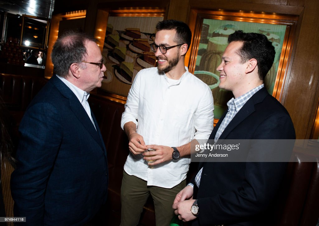 Producer Paul Blake, Chris Wood and producer Mike Bosner attend Melissa Benoist's opening night on Broadway in 'Beautiful - The Carole King Musical' June 12, 2018 in New York City.