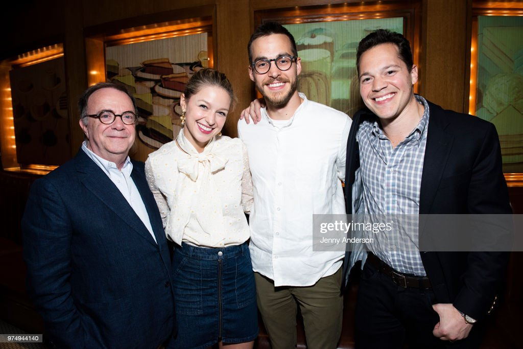 Producer Paul Blake, Melissa Benoist, Chris Wood and producer Mike Bosner attend Melissa Benoist's opening night on Broadway in 'Beautiful - The Carole King Musical' June 12, 2018 in New York City.