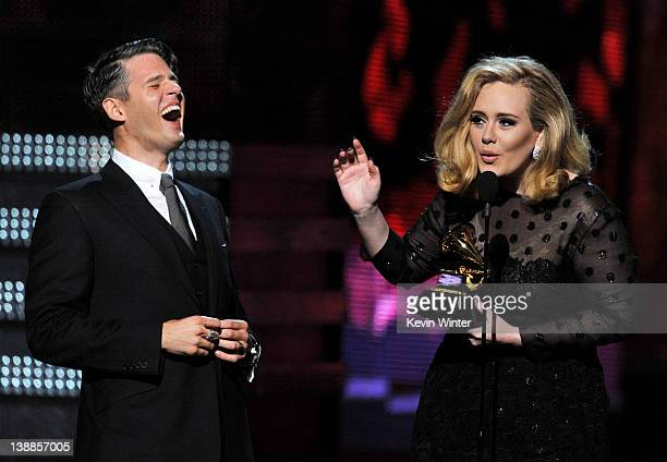 Producer Paul Epworth and singer Adele accept the award for 'Song of the Year' onstage at the 54th Annual GRAMMY Awards held at Staples Center on...