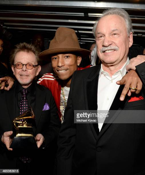 Producer Paul Williams recording artist Pharrell Williams and musician Giorgio Moroder attend the 56th GRAMMY Awards at Staples Center on January 26...