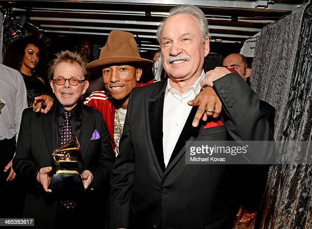Producer Paul Williams, recording artist Pharrell Williams, and musician Giorgio Moroder attend the 56th GRAMMY Awards at Staples Center on January...
