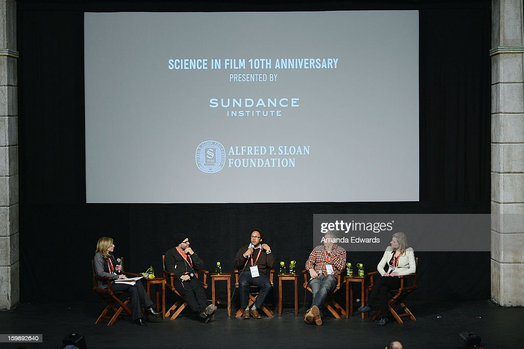 Producer Paula Apsell, filmmaker Scott Z. Burns, neuroscientist Andre Fenton, director Jon Amiel and physicist Lisa Randall attend the Once Upon A Quantum Symmetry: Science In Cinema Panel at Egyptian Theatre during the 2013 Sundance Film Festival on January 22, 2013 in Park City, Utah.