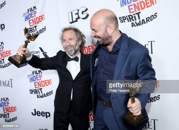 Producer Pedro Hernandez Santos and director Antonio Mendez Esparza, winners of The John Cassavetes Award for 'Life and Nothing More', pose in the...