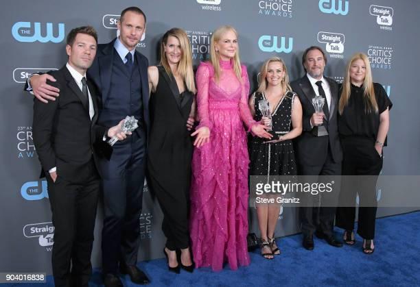 Producer Per Saari actors Alexander Skarsgaard Laura Dern Nicole Kidman Reese Witherspoon producer Gregg Fienberg and Bruna Papandrea recipients of...