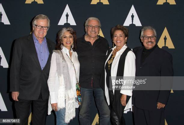 Producer Peter Burell actors Rose Portillo Edward James Olmos Alma Martinez and director/writer Luis Valdez attend the 35mm screening of 'Zoot Suit'...