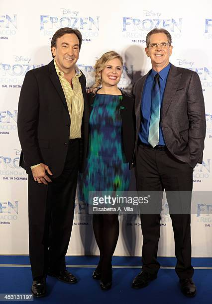 Producer Peter Del Vecho director Jennifer Lee and director Chris Buck attend the 'Frozen' Rome Premiere at Cinema Adriano on December 2 2013 in Rome...