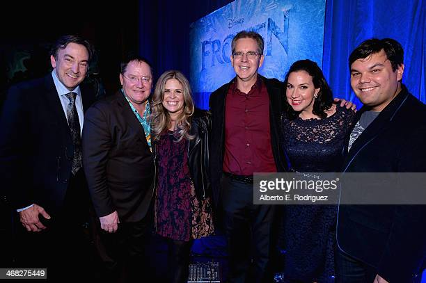 Producer Peter Del Vecho executive producer John Lasseter directors Jennifer Lee and Chris Buck and songwriters Kristen AndersonLopez and Robert...