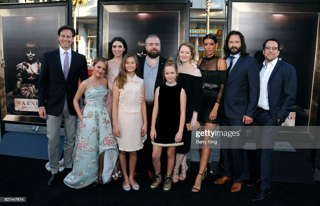 Producer Peter Safran, actresses Talitha Bateman, Grace Fulton, Lou Lou Safran, director David F. Sandberg, actresses LuLu Wilson, Miranda Otto, Stephanie Sigman and screenwriter Gary Dauberman and co-producer Michael Clear attend the premiere of New Line Cinema's' 'Annabelle: Creation' at TCL Chinese Theatre on August 7, 2017 in Hollywood, California.