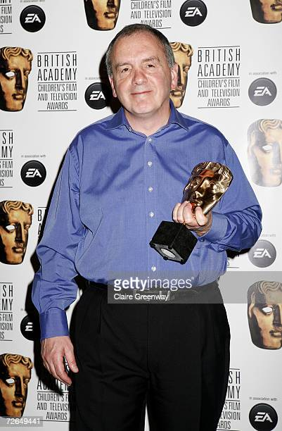 Producer Peter Tabern poses in the awards room with the award for Best Writer for 'Johnny and the Bomb' at the 11th British Academy Children's Film...