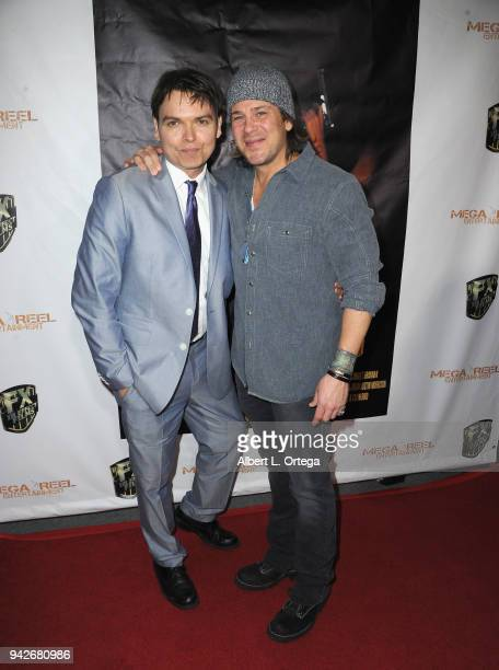 Producer Peter Wrobell and actor Christian Kane arrive for the Los Angeles Premiere of 'Miles To Go' held at Writers Guild Theater on April 5 2018 in...