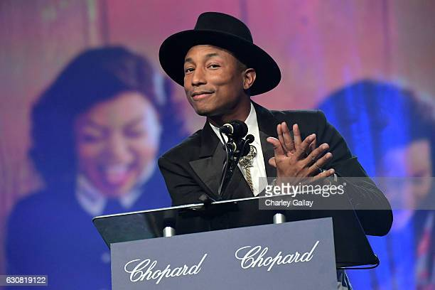 Producer Pharrell Williams speaks onstage at the 28th Annual Palm Springs International Film Festival Film Awards Gala at the Palm Springs Convention...
