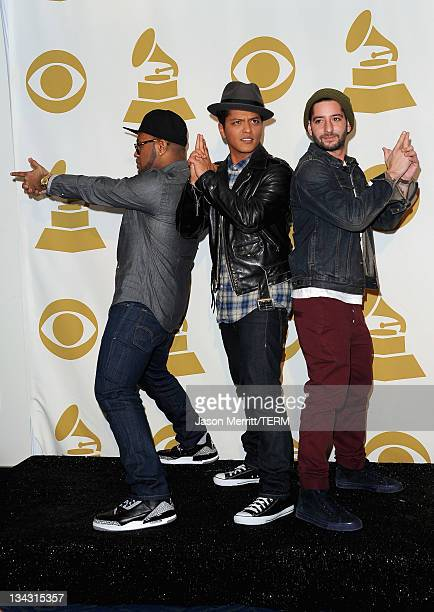 Producer Philip Lawrence musician Bruno Mars and producer Ari Levine pose in media room at The GRAMMY Nominations Concert Live Countdown to Music's...