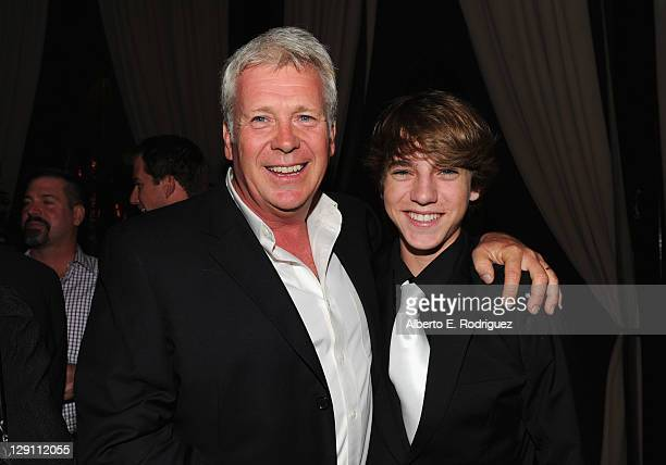 Producer Philip Rose and actor Chase Ellison attend the Fireflies In The Garden Premiere after party at The Whisper Lounge on October 12 2011 in Los...