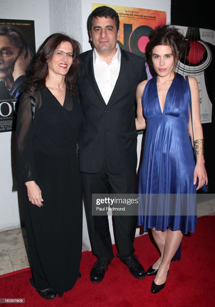 Producer Philippa Kowarsky, director Dror Moreh and producer Estelle Fialon attend Sony Pictures Classics Pre-Oscar Dinner at The London Hotel on February 23, 2013 in West Hollywood, California.