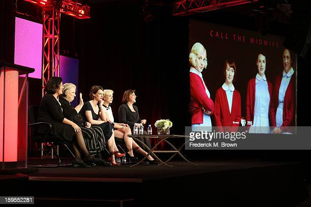 Producer Pippa Harris actresses Pam Ferris Jessica Raine Helen George and executive producer/writer Heidi Thomas speak onstage during the Call The...