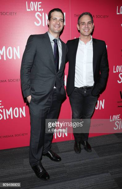 Producer Pouya Shahbazian and director Greg Berlanti pose for a photo at the screening of 'Love Simon' hosted by 20th Century Fox Wingman at The...