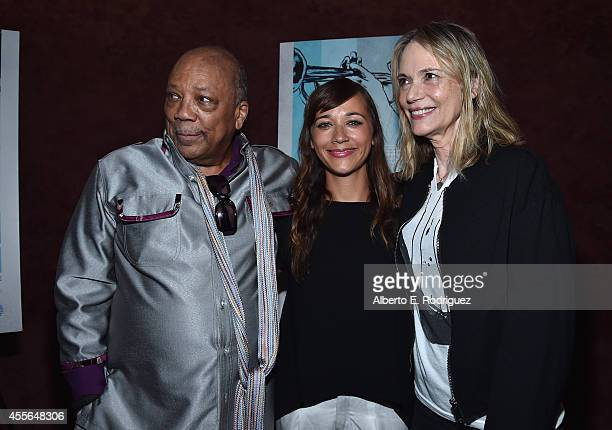 Producer Quincy Jones actress Rashida Jones and actress Peggy Lipton arrive to the premiere of RADIUSTWC's Keep On Keepin' On at Landmark Theatre on...