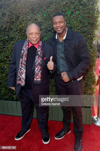 Producer Quincy Jones and actor Chris Tucker attend the 50th anniversary screening of In the Heat of the Night during the 2017 TCM Classic Film...