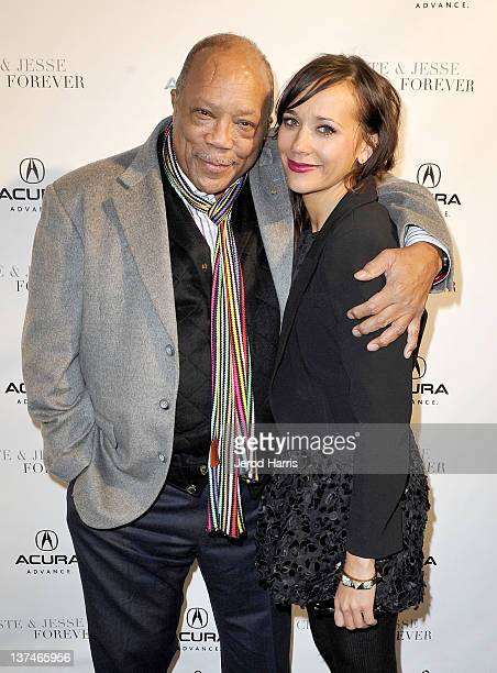Producer Quincy Jones and actress Rashida Jones attend the 'Celeste and Jesse Forever' dinner held at Acura Studio on January 20 2012 in Park City...