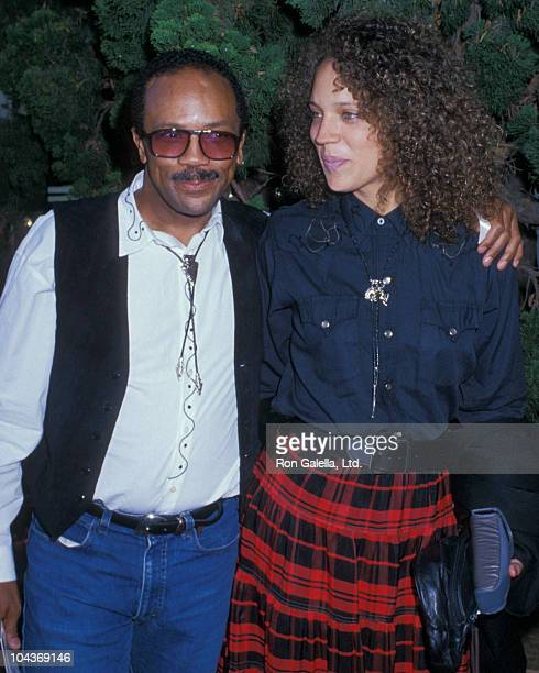 Producer Quincy Jones and daughter Kadida Jones attend Share Party on May 20 1989 at the Santa Monica Civic Auditorium in Santa Monica California
