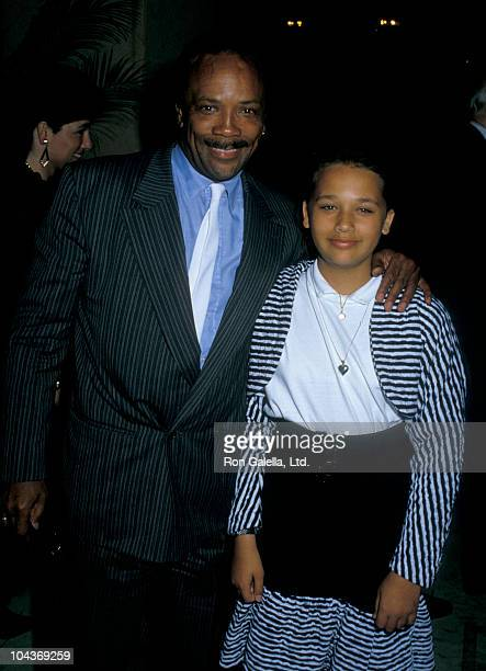 Producer Quincy Jones and daughter Rashida Jones attend American Soviet Film Initiative Gala on April 8 1988 at the Bel Age Hotel in Hollywood...