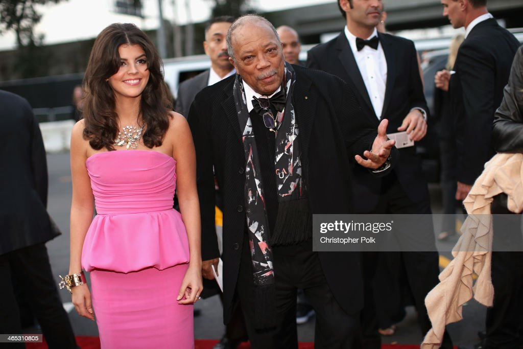 Producer Quincy Jones (R) and guest attend the 56th GRAMMY Awards at Staples Center on January 26, 2014 in Los Angeles, California.