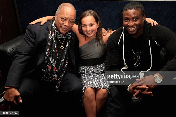 Producer Quincy Jones and musical prodigy Emily Bear attend the Emily Bear Record Release Party at the Jazz Bakery Musicians Institute Concert Center...