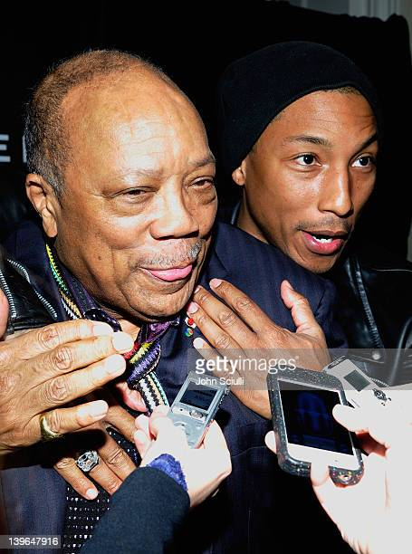 Producer Quincy Jones and rapper Pharrell Williams attend Vertu and Gelila and Wolfgang Puck Celebrate the Oscars and Dream for Africa Foundation at...