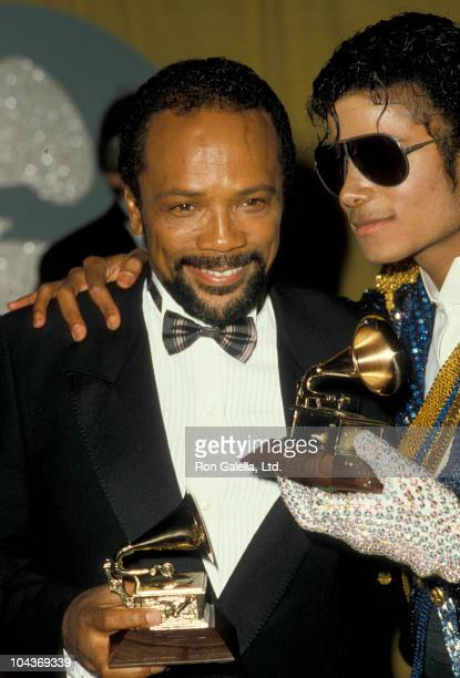 Producer Quincy Jones and singer Michael Jackson attend 26th Annual Grammy Awards on February 28 1984 at the Shrine Auditorium in Los Angeles...