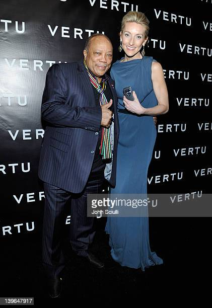 Producer Quincy Jones and Vertu's Casey Gorman attend Vertu and Gelila and Wolfgang Puck Celebrate the Oscars and Dream for Africa Foundation at CUT...