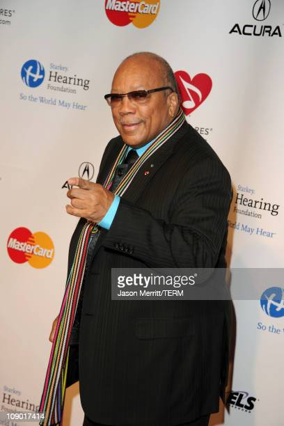 Producer Quincy Jones arrives at the 2011 MusiCares Person of the Year Tribute to Barbra Streisand held at the Los Angeles Convention Center on...