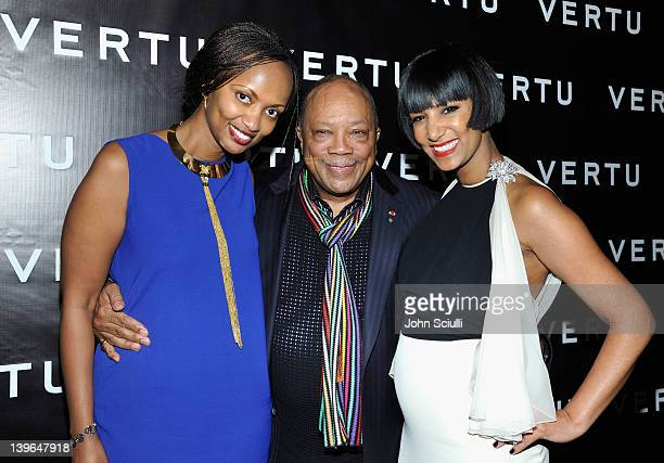 Producer Quincy Jones , Founder of Dream for Africa Foundation Gelila Puck and guest attend Vertu and Gelila and Wolfgang Puck Celebrate the Oscars...