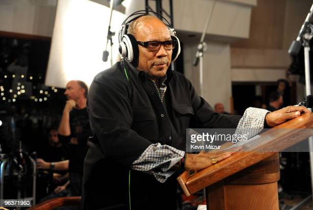 HOLLYWOOD FEBRUARY 01 Producer Quincy Jones speaks at the 'We Are The World 25 Years for Haiti' recording session held at Jim Henson Studios on...