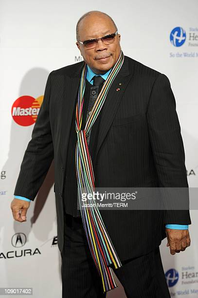 Producer Qunicy Jones arrives at the 2011 MusiCares Person of the Year Tribute to Barbra Streisand held at the Los Angeles Convention Center on...