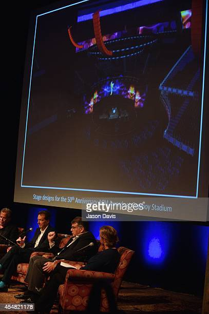 Producer RA Clark Producer Barry Adelman ACM's Bob Romeo and ACM's Lisa Lee speak during the Fifty Years Of The ACM Awards Panel Discussion at...