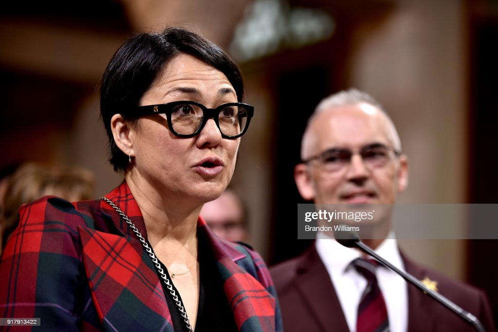Producer Ramsey Naito speaks at the 7th Annual Made in Hollywood Honors Awards Ceremony at Los Angeles City Hall on February 13, 2018 in Los Angeles, California.