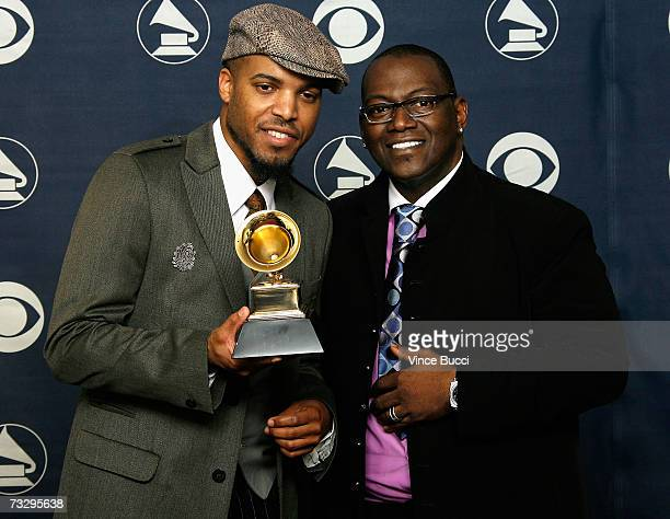 Producer Randy Jackson and Singer Van Hunt pose with his Grammy for best RB Performance by a duo or group with Vocals 'Family Affair' in the press...