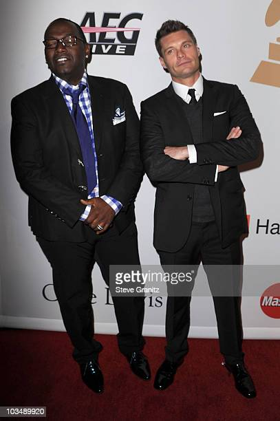 Producer Randy Jackson and tv personality Ryan Seacrest arrive at the 52nd Annual GRAMMY Awards Salute To Icons Honoring Doug Morris held at The...