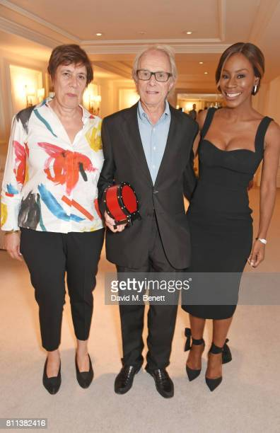 Producer Rebecca O'Brien and director Ken Loach winners of the Film award for 'I Daniel Blake' pose with presenter Amma Asante in the winners room at...