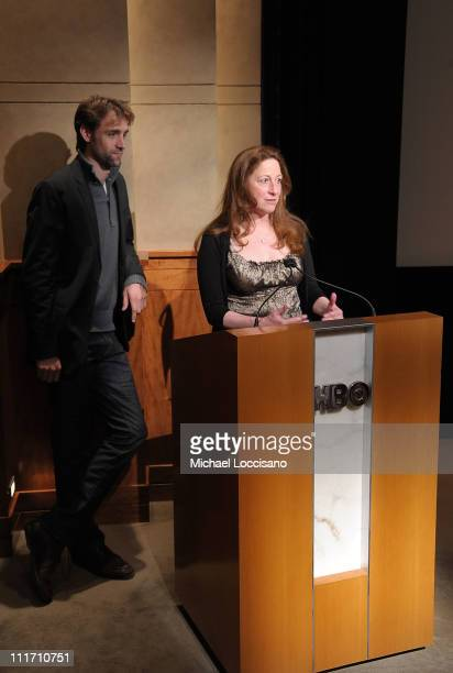 Producer Reid Carolin and director Deborah Scranton address the audience before the HBO Documentary Screening of Earth Made Of Glass at HBO Theater...