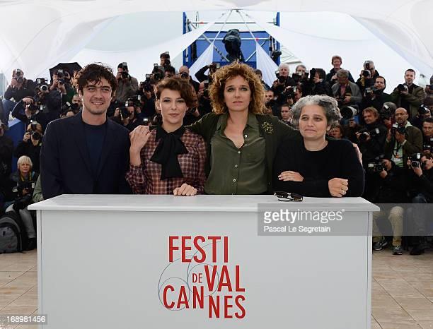 Producer Riccardo Scamarcio actress Jasmine Trinca director Valeria Golino and producer Viola Prestieri attends the 'Miele' Photocall during The 66th...