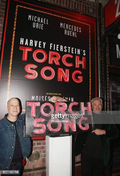 Producer Richie Jackson and Harvey Fierstein pose as Playwright Harvey Fierstein carries 'the torch' from the Second Stage Tony Kiser Theater to the...