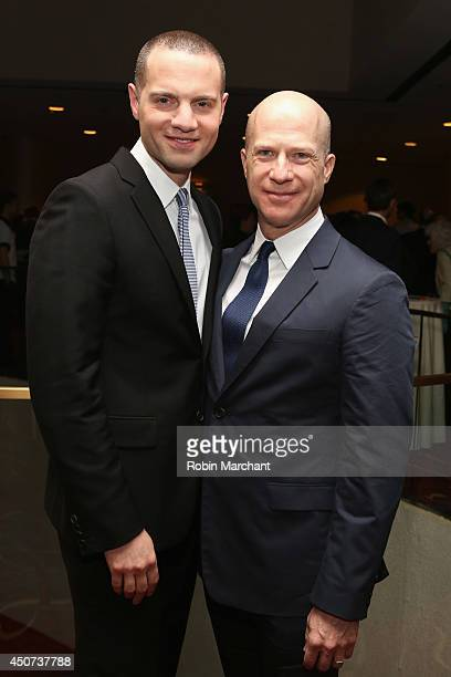 Producer Richie Jackson and President of Jujamcyn Theatres Jordan Roth attend the Trevor Project's 2014 'TrevorLIVE NY' Event at the Marriott Marquis...
