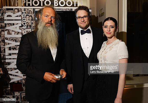 Producer Rick Rubin actors Seth Rogen and Lauren Miller attend the 2013 Vanity Fair Oscar Party hosted by Graydon Carter at Sunset Tower on February...
